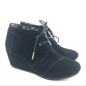 Toms Desert Wedge Ankle Boots Sz 9.5 Black